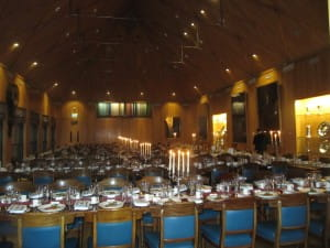 The stunning dining room at Haberdashers Hall